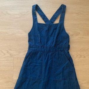 Blue Linen Chambray Crossback Pinafore Midi Dress